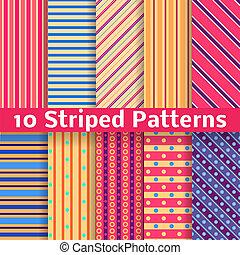 diferente, rayado, vector, seamless, patrones, (tiling).