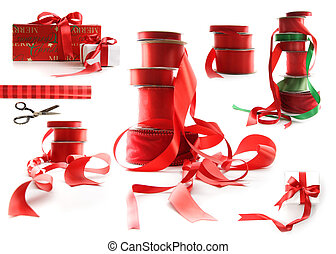 diferente, regalo, tamaños, Cajas, envuelto, blanco, Cintas, rojo