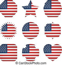 diferente, reino unido, formas, bandeira, fundo, branca
