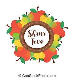 diferente, rosh, símbolo judío, hashanah, tradicional, ...