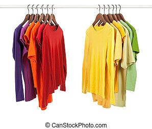 diferente, roupas, cores, escolha