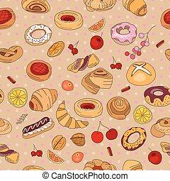 diferente, sabor, patrón, seamless, color., pastry.