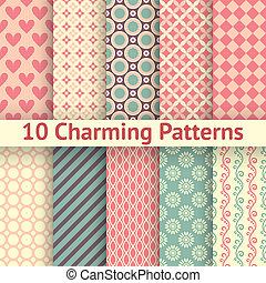 diferente, seamless, charming, padrões, vetorial, (tiling).