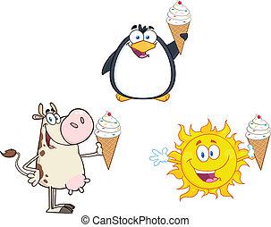 diferente, segurando, sorvete