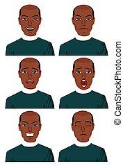 diferente, seis, jovem, americano, africano, expressões, homem