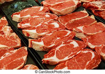 diferente, selección, carne, supermercado, crudo, cortes, fresco, rojo
