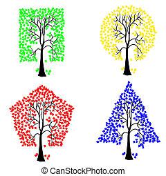diferente, shapes., geomã©´ricas, árvores