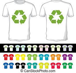 diferente, shorts, cor, símbolo, reciclagem, em branco