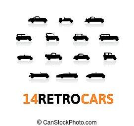 diferente, silueta, iconos, conjunto, coches, forma, retro