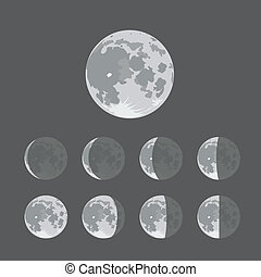 diferente, siluetas, luna