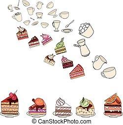 diferente, slises, bolos, pratos, white.