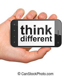 diferente, smartphone, educación, pensar, concept: