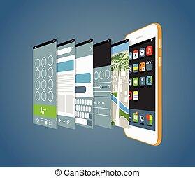 diferente, smartphone, modernos, ele, aplicação, screens.,...