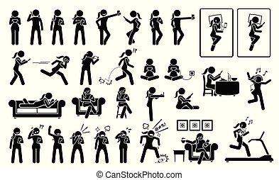 diferente, smartphone, places., posturas, mujer de teléfono, emociones, utilizar, o, reacciones, acciones