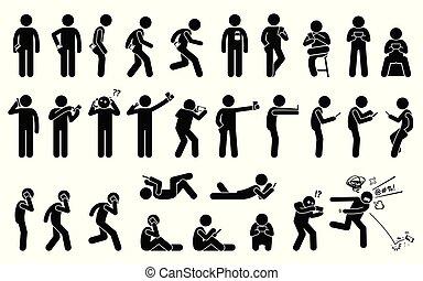 diferente, smartphone, tenencia, teléfono, proceso de llevar, postures., básico, posición, o, utilizar, hombre