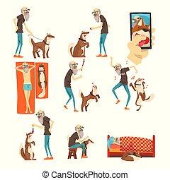 diferente, solo, juego de animal, situaciones, perro, ilustración, mascota, vector, plano de fondo, grandfathe, 3º edad, el suyo, blanco, hombre