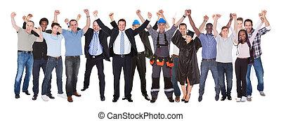 diferente, sucesso, pessoas, ocupações, celebrando, excitado