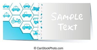 diferente, tarjeta, plantilla, transportations