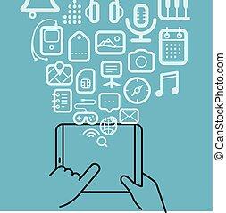 diferente, techno, iconos, flujos, en, el, moderno, adminículo
