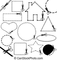 diferente, tijeras, corte, línea