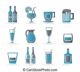 diferente, tipo, de, bebida, ícones