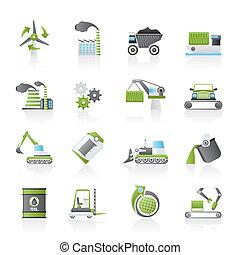diferente, tipo, de, indústria, ícones