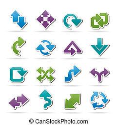 diferente, tipo, de, setas, ícones