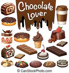 diferente, tipo, de, sobremesa, chocolate, sabor