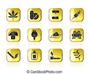 diferente, tipo, droga, ícones