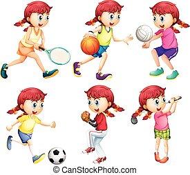 diferente, tipo, menina, esportes