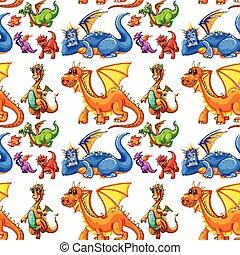 diferente, tipo, seamless, dragões