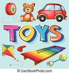 diferente, tipos, brinquedos