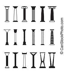 diferente, tipos, colunas
