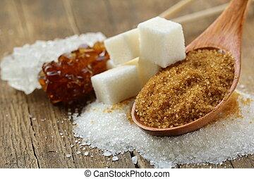 diferente, tipos, de, açúcar