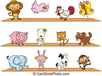 diferente, tipos, de, animais brinquedo