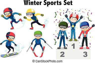 diferente, tipos, de, atletismos inverno