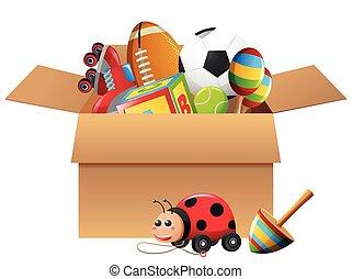 diferente, tipos, de, brinquedos, caixa