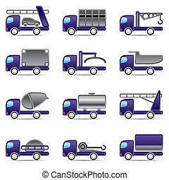 diferente, tipos, de, camiones