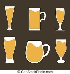 diferente, tipos, de, cerveza