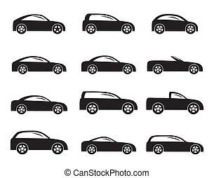 diferente, tipos, de, coches, iconos