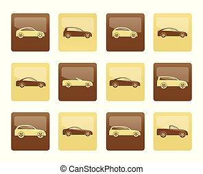diferente, tipos, de, coches, iconos, encima, fondo marrón