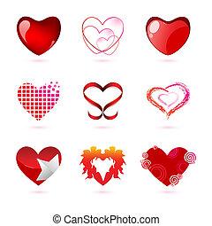 diferente, tipos, de, corações