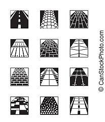 diferente, tipos, de, estrada, superfícies