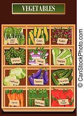 diferente, tipos, de, legumes, em, um, caixa