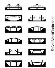 diferente, tipos, de, puentes