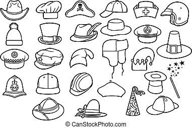 diferente, tipos, de, sombreros, línea fina, iconos, conjunto, (cowboy, pirata, gorra de béisbol, caballero, chef, médico, enfermera, oficial de policía, boina, ruso, invierno, gorra, mago, safari, cazador