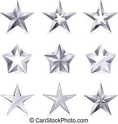 diferente, tipos, e, formulários, de, prata, estrelas