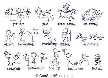 diferente, tipos, esportes
