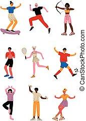 diferente, tipos, pessoas, saudável, jovem, cobrança, esportes, esportes, equipamento, vetorial, ilustração, caráteres, profissional, estilo vida ativo, atletas, sportswear