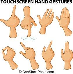 diferente, touchscreen, mano, gestos